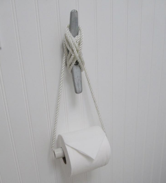 Nautical Cleat as Toilet Roll Holder