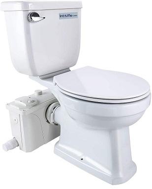 INTELFLO Macerating Toilet Kit Included 500Watt Macerator Pump and Round Toilet Bowl