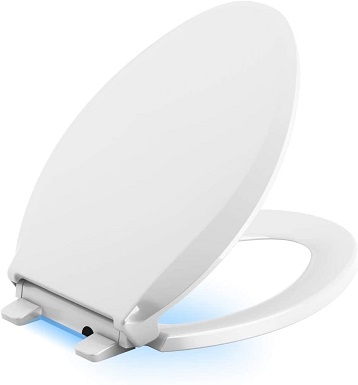 Kohler 75796-0 Cachet Nightlight Quiet-Close With Grip-Tight Elongated-Front Toilet Seat