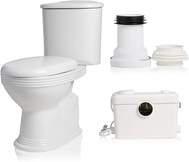 Silent Venus Macerating Upflush System Two-Piece Round-Front Toilet Kit with Standard Bowl