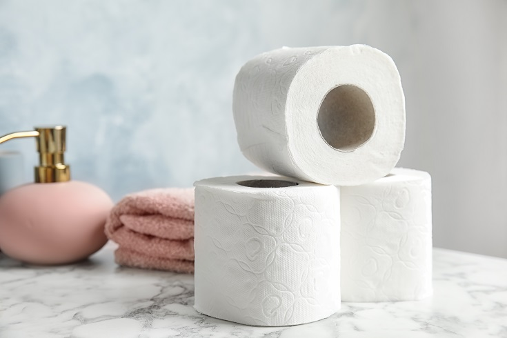 Toilet paper on sink