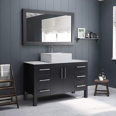 3 48 Inch Espresso Wood & Porcelain Single Vessel Sink Bathroom Vanity